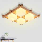 High quality-- The New Chinese Modern Minimalist Nordic Wood Square Cloth Ceiling Light Bedroom Restaurant Ceiling Light --Efficiency:A+++