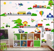VEHICLES CARS PLANES Transport Kids Children Room Wall Stickers Decal Wall Art 500 42cm/150cm