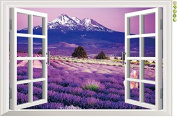 Raylinedo® Purple Window Removable Wall Stickers Window Sticker Art Decals Mural DIY Wallpaper for Room Decal