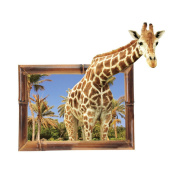 Winhappyhome Art Giraffe Wall Stickers for Bedroom Living Room Coffee Shop Background Removable Decor Decals