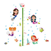 Winhappyhome Fishes Children Height Measurement Chart Wall Art Stickers for Kids Room Nursery Background Removable Decor Decals