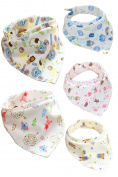 Jiexi® 5pcs 32*43cm 100%Cotton Cartoon Lovely Baby Bibs Toddler Bandana Kit with Adjustable Straps Dribble Triangle Bibs For Boys & Girls
