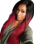 Falamka Long Straight Omber Black to Red Wig