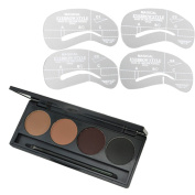 Cosmetic Makeup Kit 4 Colours Eyebrow Eye Brow Powder Palette with Eyebrow Grooming Shaping Stencil Beauty Tool