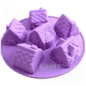 Fendii 6 Cavity 3D House Silicone Cake Baking Moulds for Chocolate, Jelly and Candy etc