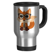 Fox Nerd Travel Mug with Handle Unique Travel Mugs for Men Coffee Cup for Mom Dad Friends Christmas Presents