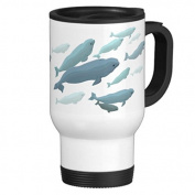 Beluga Whale Art Travel Mug with Handle Unique Travel Mugs for Men Coffee Cup for Mom Dad Friends Christmas Presents
