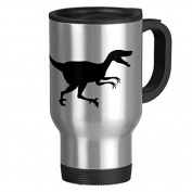 Travel Mug with Handle Unique Velociraptor Dinosaur Travel Mugs for Men Coffee Cup for Mom Dad Friends Christmas Presents
