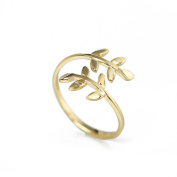QHGstore Zinc Alloy Nature Olive Tree Branch Leaf Leaves Open Ring Adjustable Size gold