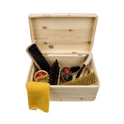 Shoe Care Pinewood Box -Verona- with kiwi shoe polish, brushes and more care accessories, professional shoe shining kit - FSC 100%.