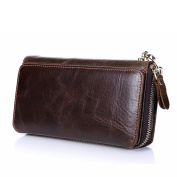 Gendi Long Purses for Men Genuine Leather Men Wallets with Multi Card Holders Brown Cowhide Function Men's Clutch Wallets