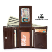 Vbiger Genuine Leather RFID Blocking Wallets Mens Wallet Bifold