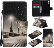 LEMORRY Sony Xperia XZ Case Leather Flip Wallet Pouch Slim Fit Bumper Protection Magnetic Strap Stand Card Slot Soft TPU Cover for Sony Xperia XZ, Christmas Eve