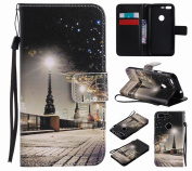 LEMORRY Google Pixel Case Leather Flip Wallet Pouch Slim Fit Bumper Protection Magnetic Strap Stand Card Slot Soft TPU Cover for Google Pixel, Christmas Eve