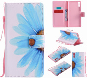 LEMORRY Sony Xperia XZ Case Leather Flip Wallet Pouch Slim Fit Bumper Protection Magnetic Strap Stand Card Slot Soft TPU Cover for Sony Xperia XZ, Petal