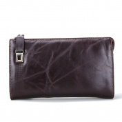 Gendi New Long Purses for Men Genuine Leather Men Wallets with Multi Card Holders Brown Cowhide Function Men's Clutch Wallets