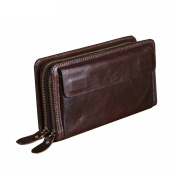 Gendi Double Zipper Men Wallets with Phone Bag Vintage Genuine Leather Clutch Wallet Male Purses Large Capacity Men's Wallets