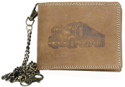 Natural Genuine Leather Biker's Wallet with Truck with Metal Chain to Hang