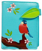 Shagwear Women's Wallet Multi-Coloured Rouge-Gorge Bleu Clair/ Red Crested