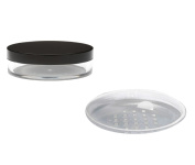 2x 30ml empty pot for cosmetics / powders / cream jar with sifter insert black lid IdoBeauty®