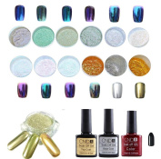 Tefamore 12 Colours Nail Art Shinning Mirror Glitter Powder Gel