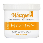 Soft pot strip wax 450ml with Natural BEESWAX, Professional hair removal. (3 x 450ml, Honey