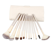 Makeup Brushes ,Lanowo 12Pcs Cosmetic Eyebrow Eyeshadow Brush Makeup Brush Sets Kits Tools Superfine Fibre Brush with Reusable Leather Storage Pouch Bag