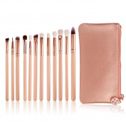 Makeup Brushes ,Lanowo 12 Pieces Professional High Quality Delicate Cosmetics Make Up Brush Set Kits Eye Shadow Eyeliner Foundation Blush Lip Makeup Brushes Powder Liquid Cream Cosmetics Blending Brush Tool with Portable Makeup Travel Pouch
