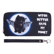 Fashionable Wallet for Men Woman Cash Holder Zippered Card Purse Witch Kitty [050]