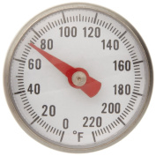 Supco ST02 Stainless Steel Pocket Dial Thermometer, 13cm Stem, 2.5cm Dial, 0 to 220 Degrees F
