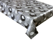 2 METRES (200 X 137CM) VINYL TABLECLOTH BLACK AND SILVER LEAF SWIRL DESIGN. 6 SEATER SIZE, PVC WIPE CLEAN TEXTILE BACKED TABLECLOTH