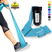 Super Exercise Band 2.1m Long Resistance Bands. Flat Latex Free Home Gym Fitness Equipment For Physical Therapy, Pilates, Stretch, Yoga, Strength Training Workout. In Light, Medium or Heavy Tension.