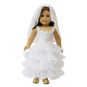 ZITA ELEMENT Doll Clothes -Princess White Wedding Dress Fits American Girl Doll, My Life Doll, Our Generation and other 46cm Dolls XMAS GIFT