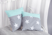Power Kids cushion cover large white stars on grey and white polka dot on Mint
