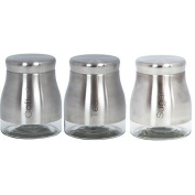 Brushed Stainless Steel Glass Tea Coffee Sugar Canisters by ProdBuy Limited