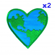 Pack of 2 Love Earth, Heart Logo Iron on Patches