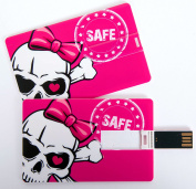 "'Fun USB 4GB Flash Drive - Credit Card, Business Card, Credit Card, Skull Pink Bow Skull ""Safe for Data Storage or As Gift"