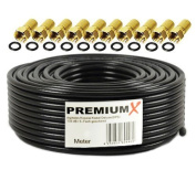 'Basic PremiumX Coaxial Cable 130 dB 4x Shielded Black SAT Coaxial Antenna Cable 100 m 130 dB 3D FullHD 1080p HDTV New + 10 °F-Connectors in Choice of Colour