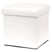 New Ottoman Foldaway Storage Blanket Toy Box Faux Leather White