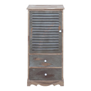 Rebecca Srl Storage Unit Cabinet 1 Door 2 Drawers MEDITERRANEA Wood Green Retrò Style Bathroom Kitchen