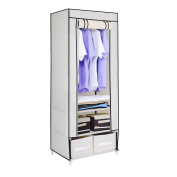 HST Mall Single Canvas Wardrobe with 2 Storage Drawers for Clothes Storage Cupboard Hanging Rail Shelves 160 x 59 x 43cm Beige