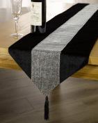 Black Diamanté Sparkle Velvet Bling Table Runner With Tassels 33cm x 180cm