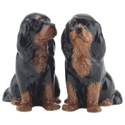 Quail Ceramics - Black & Tan Cavalier King Charles Spaniel Salt And Pepper Pots
