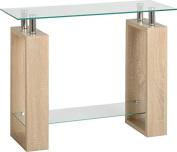 Seconique Milan Console Table, Glass, Sonoma Oak Effect Veneer/Clear/Silver