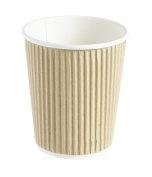 Thali Outlet - 50 x Kraft 240ml Ripple 3 Ply Disposable Insulated Paper Cups For Tea Coffee Cappuccino Hot Drinks