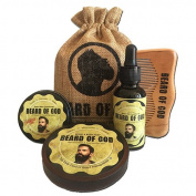 BEARDofGOD Beard BALM, OIL + BAR SOAP + COMB & SACK | Organic | VETIVER STONE