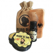BEARD BALM + BEARD OIL + MAHOGANY WOOD COMB & SACK by BEARD of GOD | Organic | VETIVER STONE