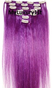 6 Pieces Purple Remy Human Hair Clip in Extensions Clipin 80 Grammes 50cm Long