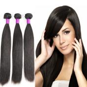 Brazilian Virgin Hair Straight 3 Bundles 100% Unprocessed Human Hair Straight 100% Real Human Hair Extensions Natural Black Colour 300g Total