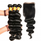 XCCOCO Hair 7A Grade Unprocessed Brazilian Virgin Hair Loose Wave 3 Bundles with Closure 10cm x 10cm 100% Human Hair with Baby Hair